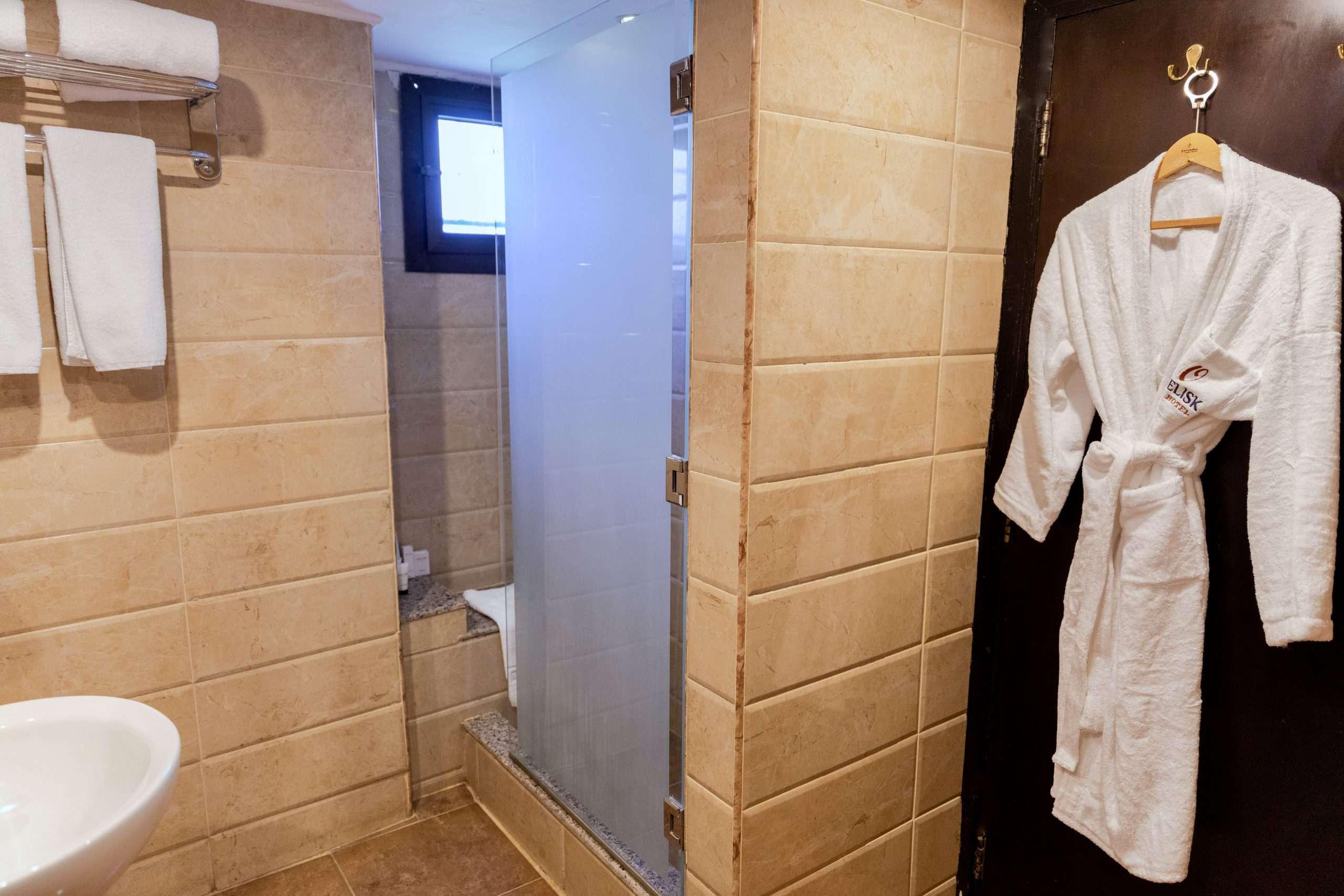 The walk-in shower at Obelisk Nile Hotel